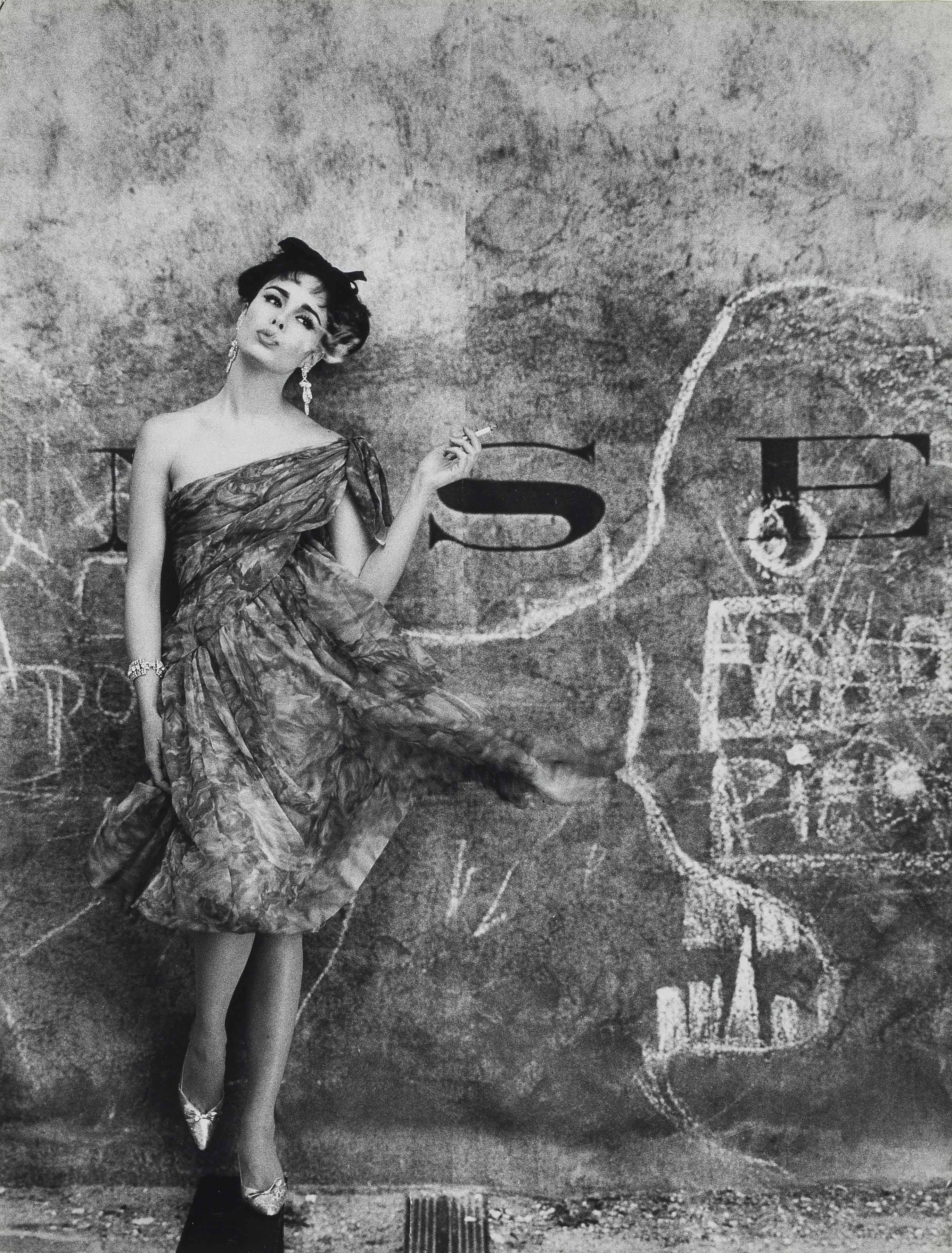 Model and Graffiti, Paris (Vogue), 1961