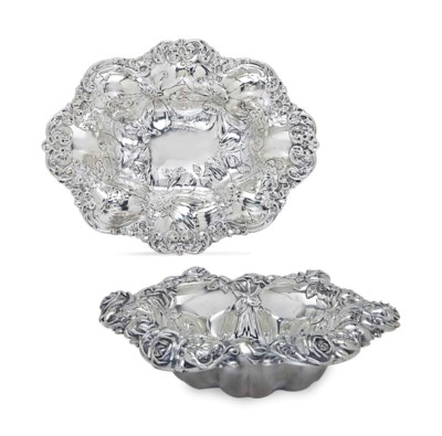 TWO AMERICAN SILVER DISHES,