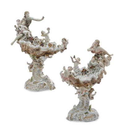 A PAIR OF GERMAN PORCELAIN SHE