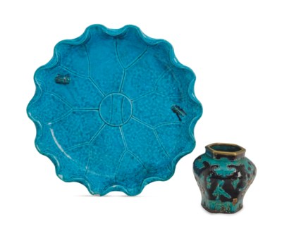 A CHINESE TURQUOISE-GLAZED LOT