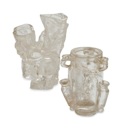 TWO CHINESE ROCK CRYSTAL VASES