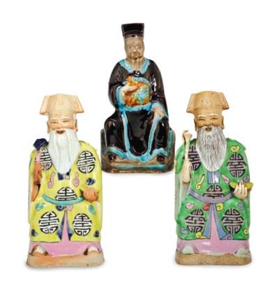 THREE CHINESE GLAZED CERAMIC F