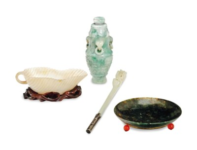 A GROUP OF FOUR CHINESE JADE,
