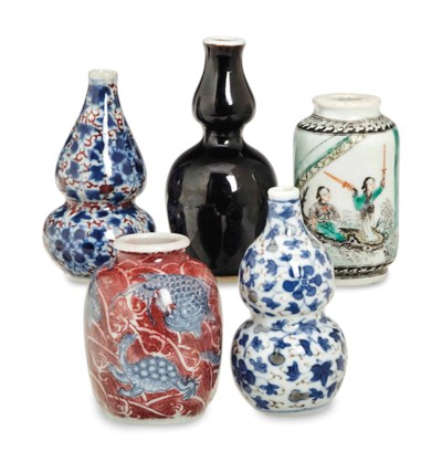 FIVE CHINESE MINIATURE PORCELA