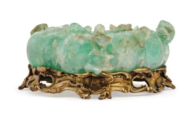 A CHINESE GREEN FLUORITE BOWL