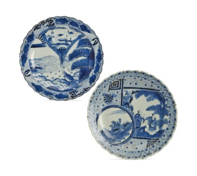 TWO JAPANESE PORCELAIN BLUE AN