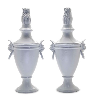 A PAIR OF WHITE-PAINTED FLAMIN