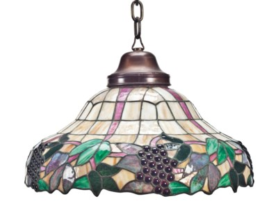 A LEADED GLASS HANGING LIGHT F