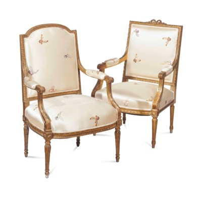 THREE LOUIS XVI STYLE GILTWOOD