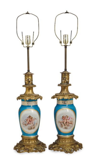 A PAIR OF SEVRES STYLE ORMOLU-
