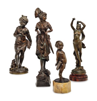 A GROUP OF FOUR PATINATED BRON