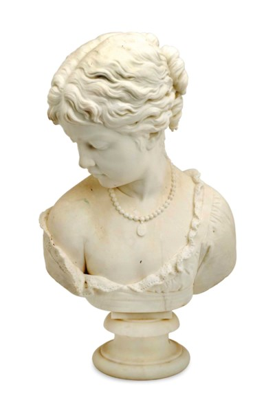 A MARBLE BUST OF A WOMAN,