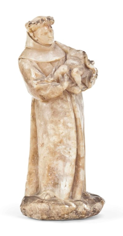 AN ALABASTER FIGURE OF ST ANTH