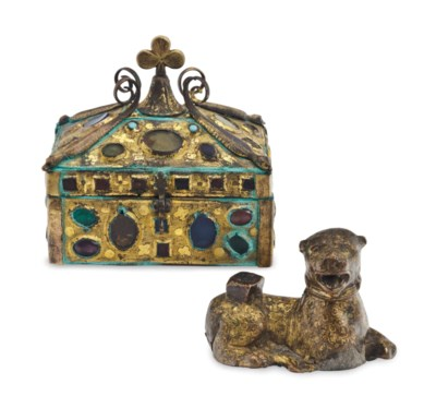 A GILT-COPPER CASKET,