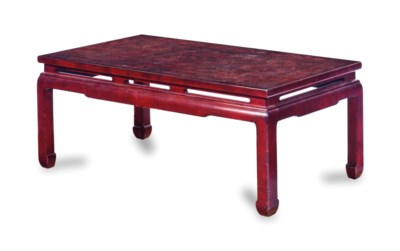 A CHINESE RED-LACQUERED AND DE