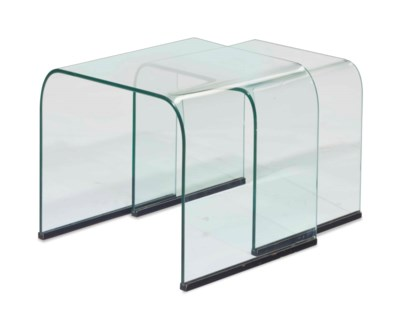 A PAIR OF GLASS NESTING SIDE T