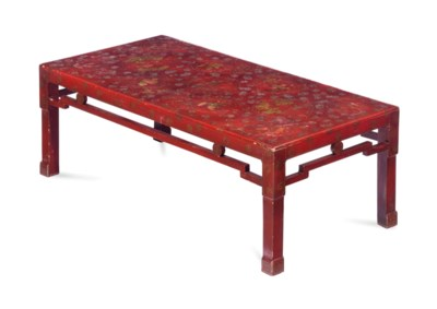 A RED JAPANNED RECTANGULAR LOW