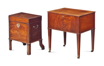 A GEORGE III MAHOGANY FOOTED B