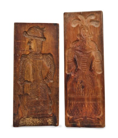 A PAIR OF AMERICAN CARVED WOOD