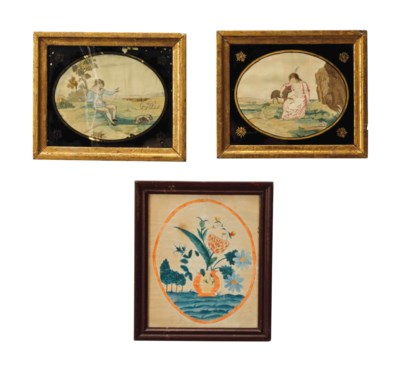 A PAIR OF NEEDLEWORK PICTURES,