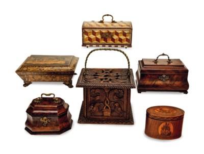 AN ENGLISH PENWORK BOX, AN ENG