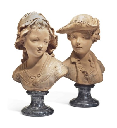 TWO FRENCH TERRACOTTA BUSTS OF