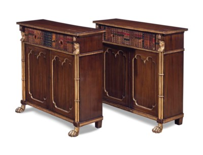 A PAIR OF REGENCY GRAIN-PAINTE