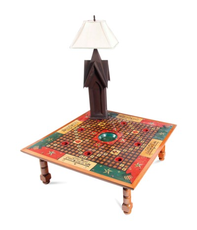 A POLYCHROME-PAINTED LOW TABLE