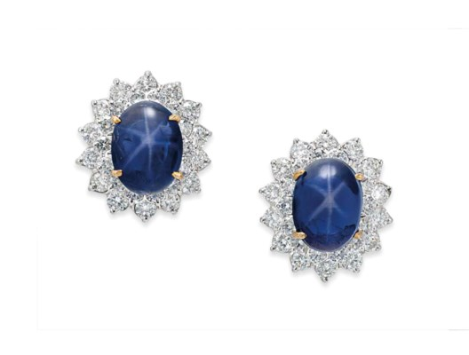 A PAIR OF STAR SAPPHIRE AND DI