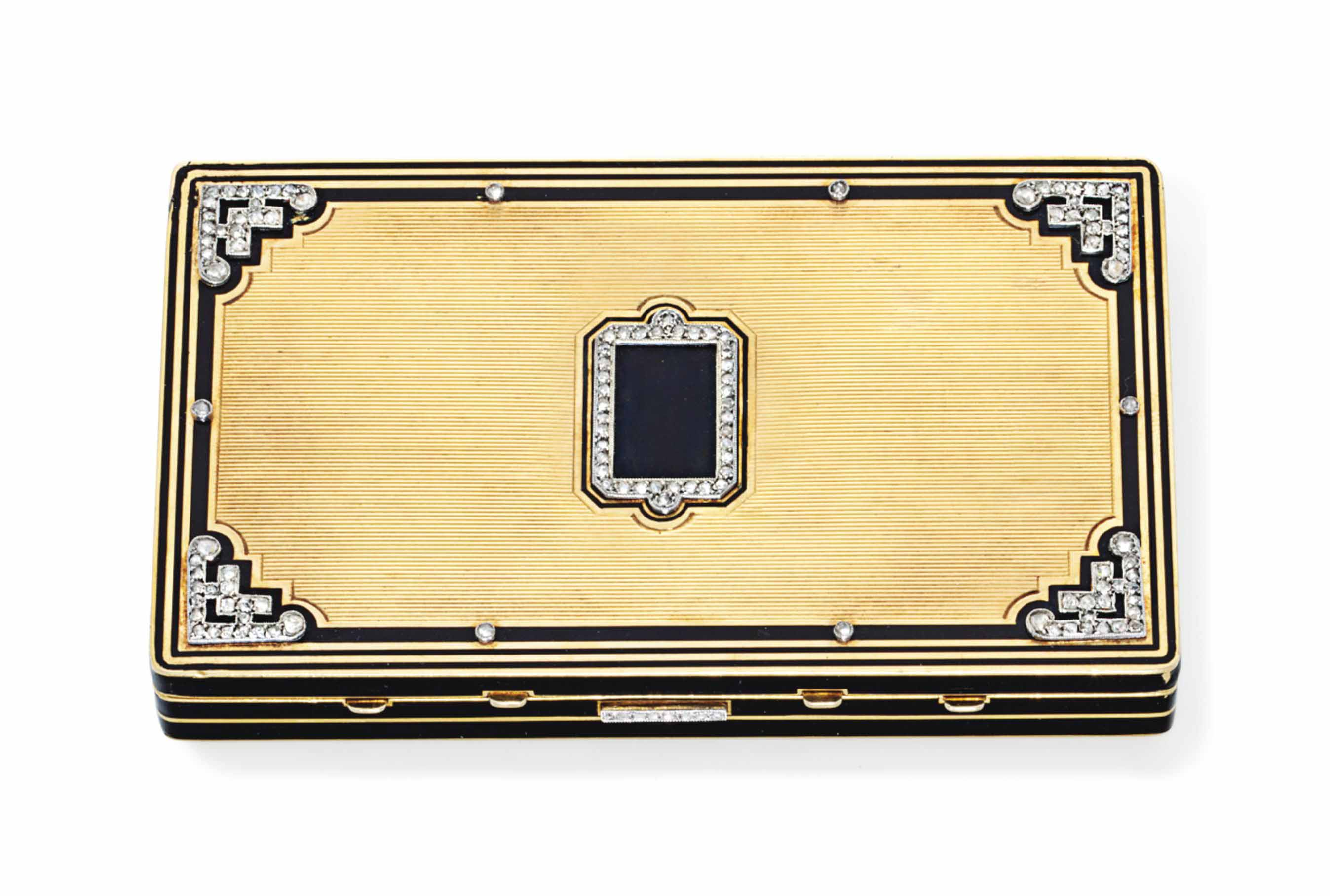 AN ART DECO DIAMOND, ENAMEL AN