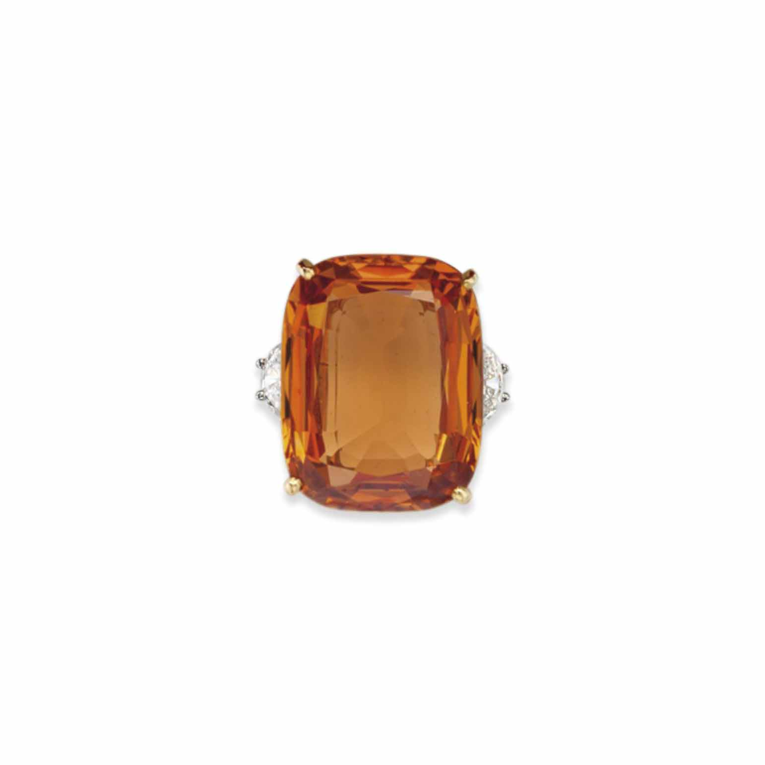 A TOPAZ AND DIAMOND RING, BY C