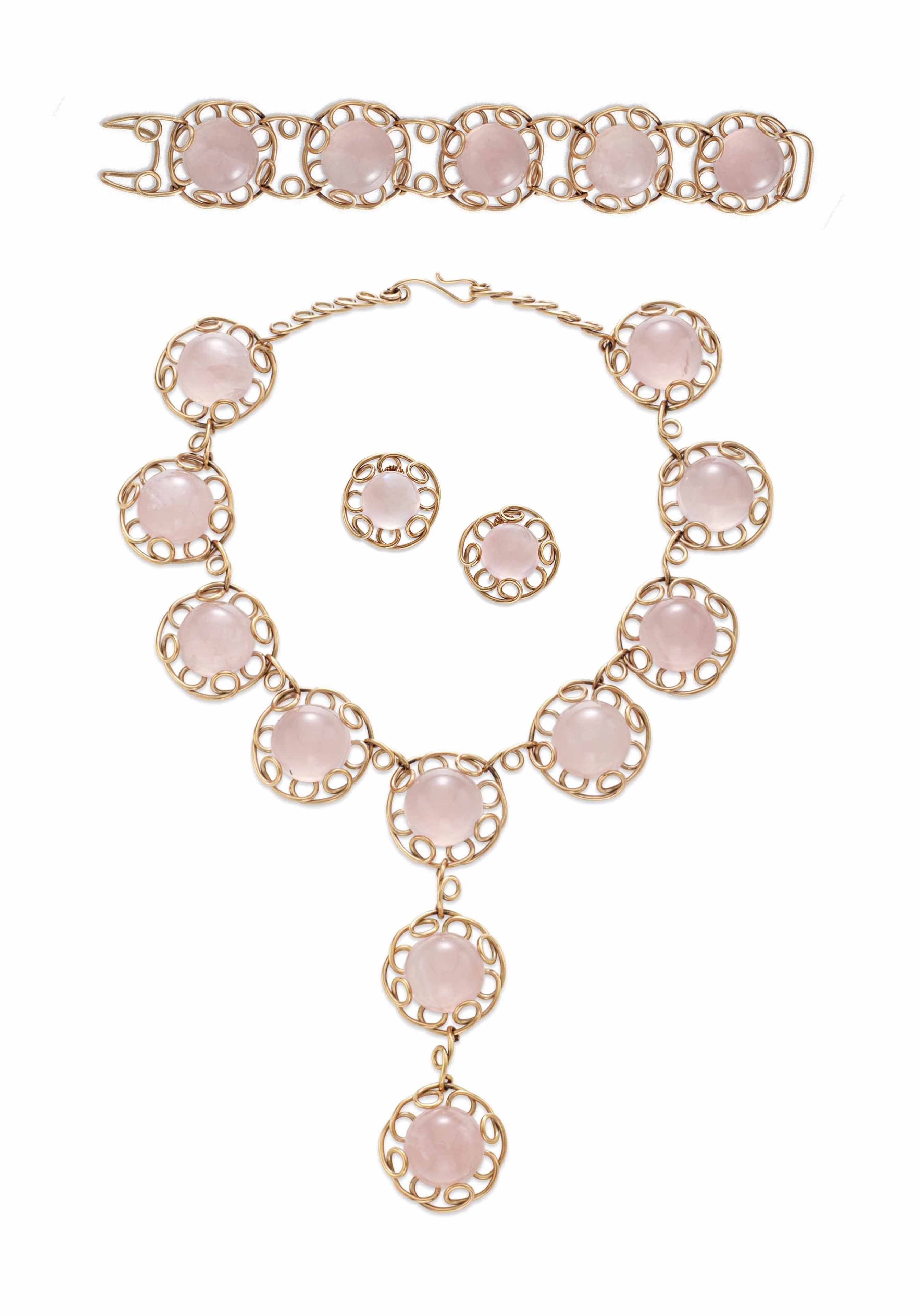 A SUITE OF ROSE QUARTZ AND GOL