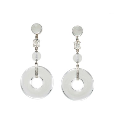 A PAIR OF ROCK CRYSTAL AND WHI