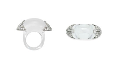 AN ART DECO ROCK CRYSTAL AND D