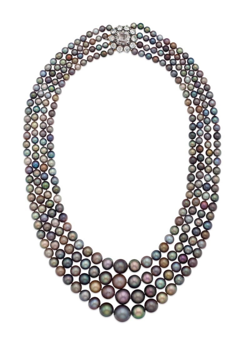 A magnificent and rare natural coloured pearl and diamond necklace. With report 78724 dated 3 March 2015 from the SSEF (Swiss Gemmological Institute) stating the analysed properties confirm the authenticity of these saltwater natural  pearls. Sold for $5,093,000 on 14 April 2015 at Christie's in New York