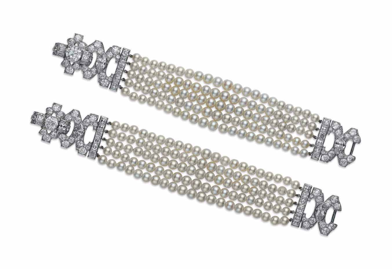 A PAIR OF ART DECO PEARL AND DIAMOND BRACELETS