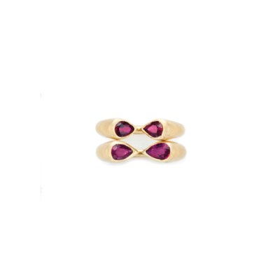 TWO RUBY AND GOLD RINGS, BY JA