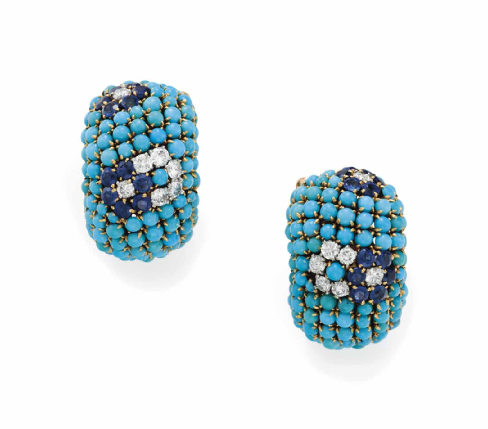 A PAIR OF TURQUOSE, DIAMOND AN