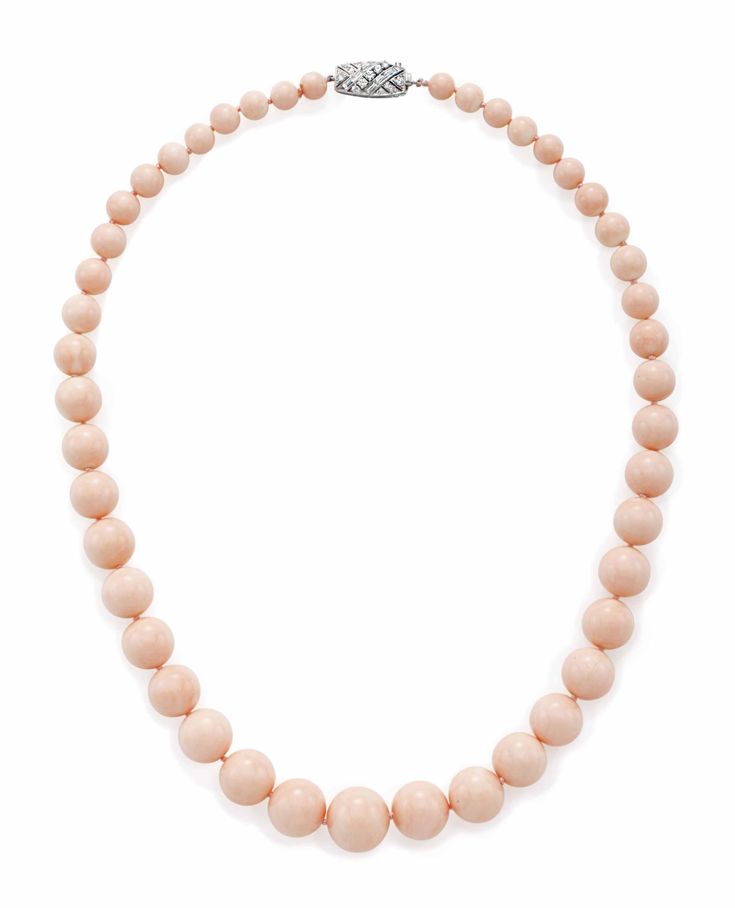 ~A CORAL BEAD AND DIAMOND NECK