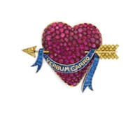 THE MILLICENT ROGERS HEART: A RUBY, SAPPHIRE, COLORED DIAMOND AND ENAMEL BROOCH, BY PAUL FLATO