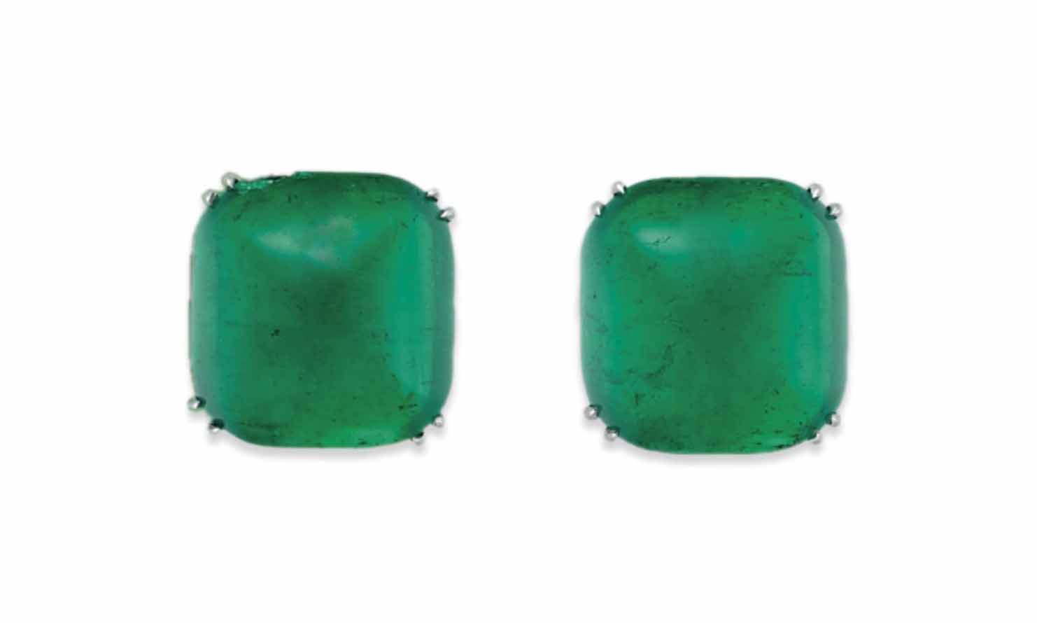 A PAIR OF EMERALD EAR STUDS