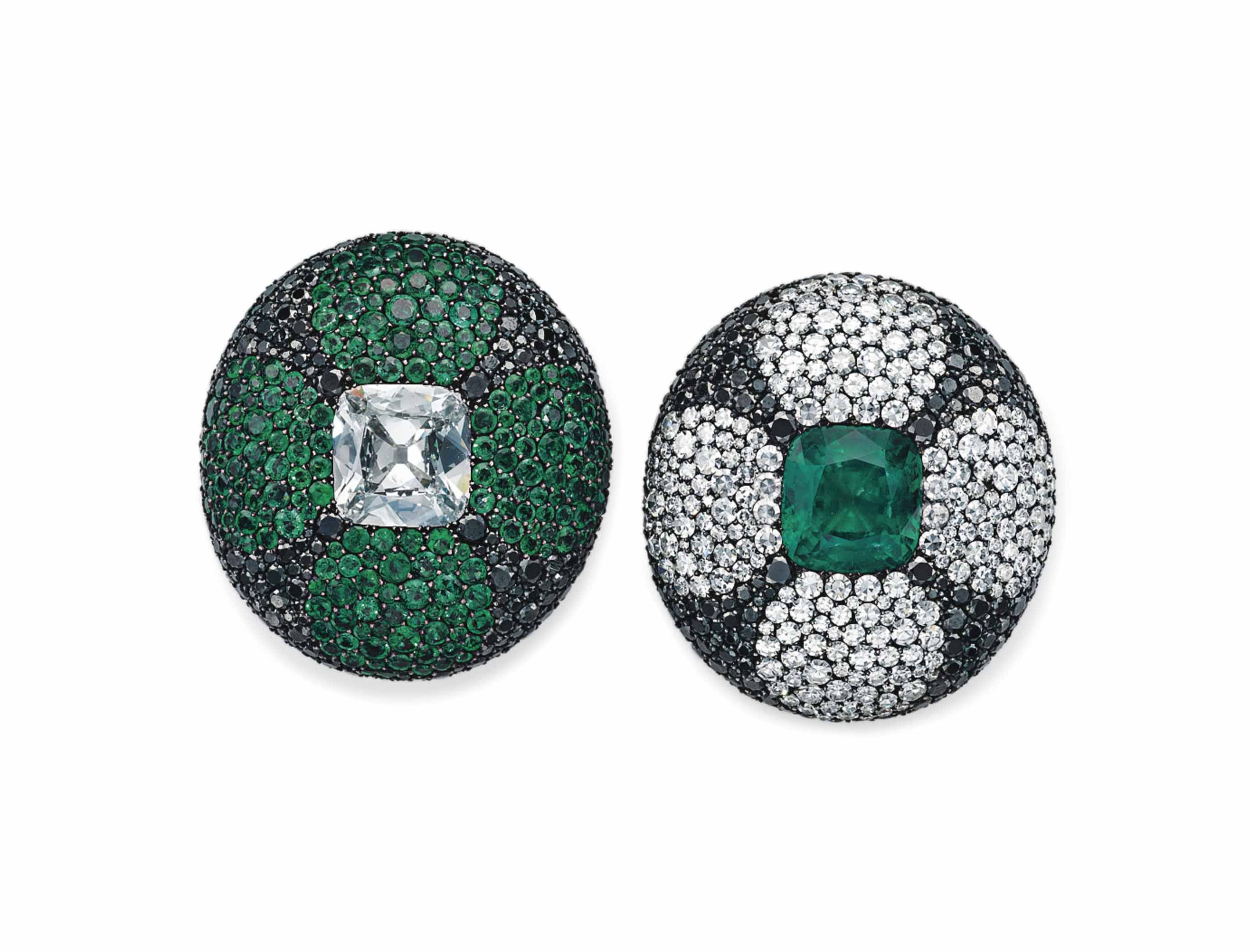 A PAIR OF SPECTACULAR EMERALD,