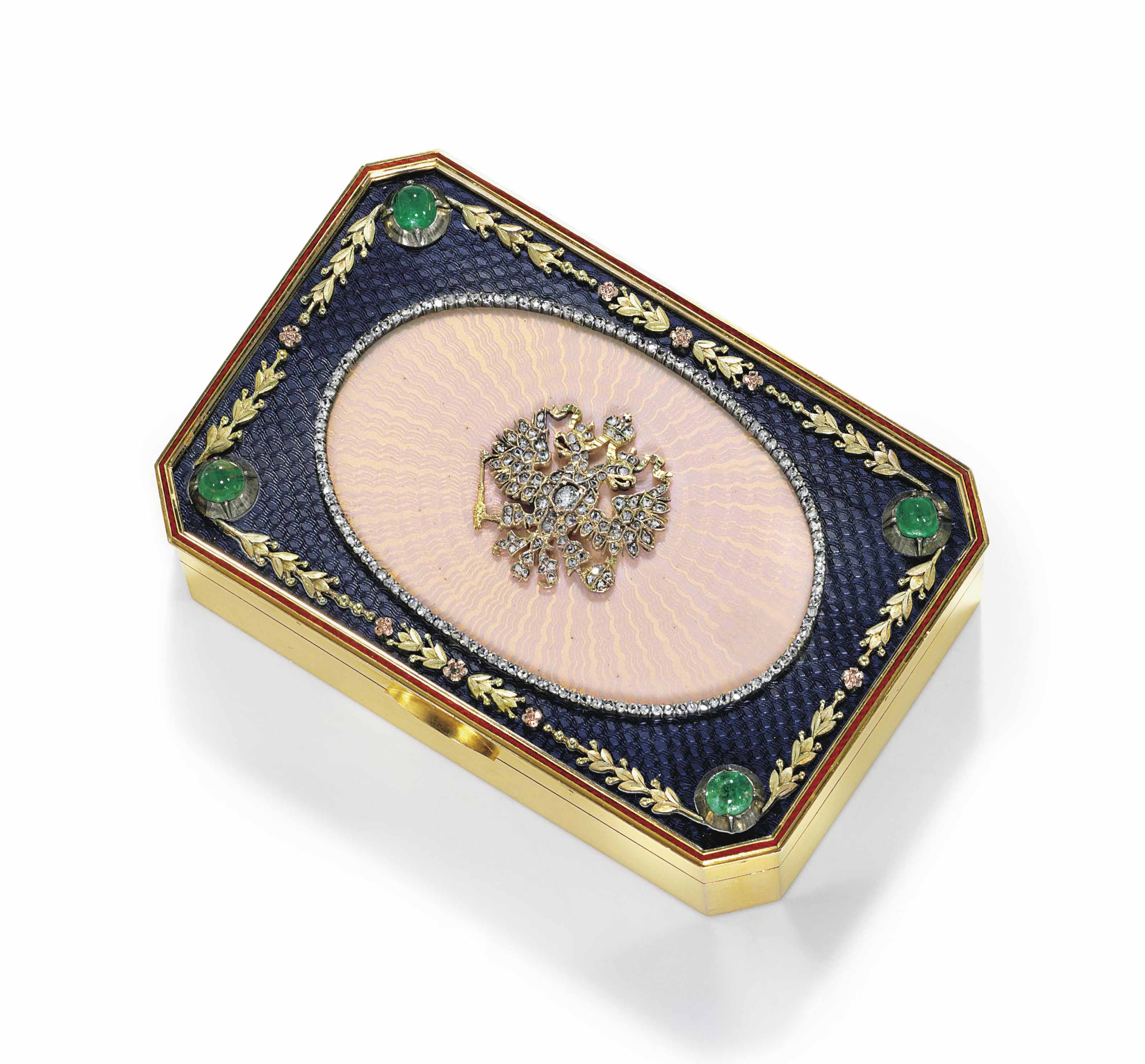 AN IMPORTANT JEWELED AND ENAMELED TWO-COLOR GOLD IMPERIAL PRESENTATION SNUFF BOX