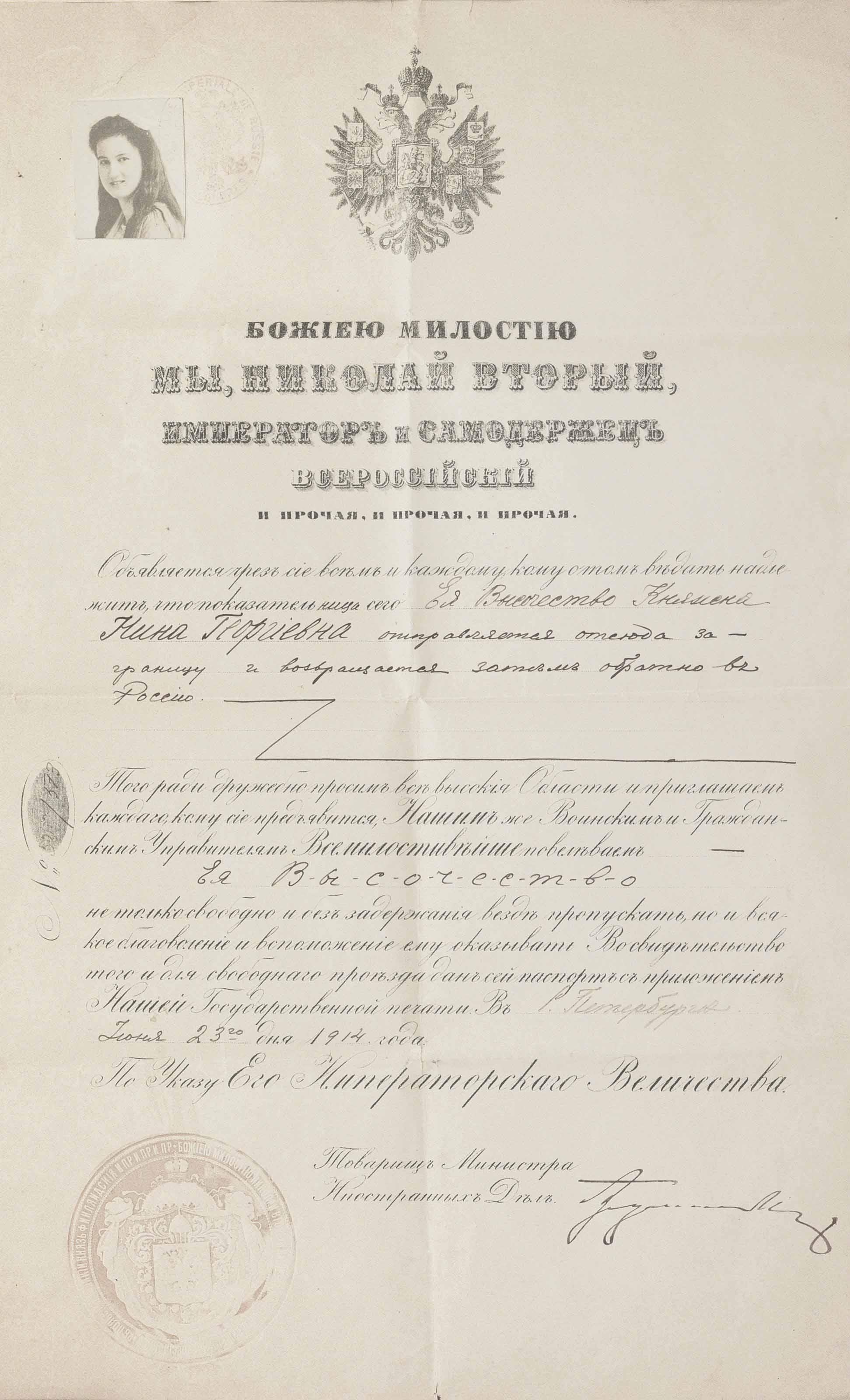 PRINCESS NINA GEORGIEVNA: A RUSSIAN PASSPORT