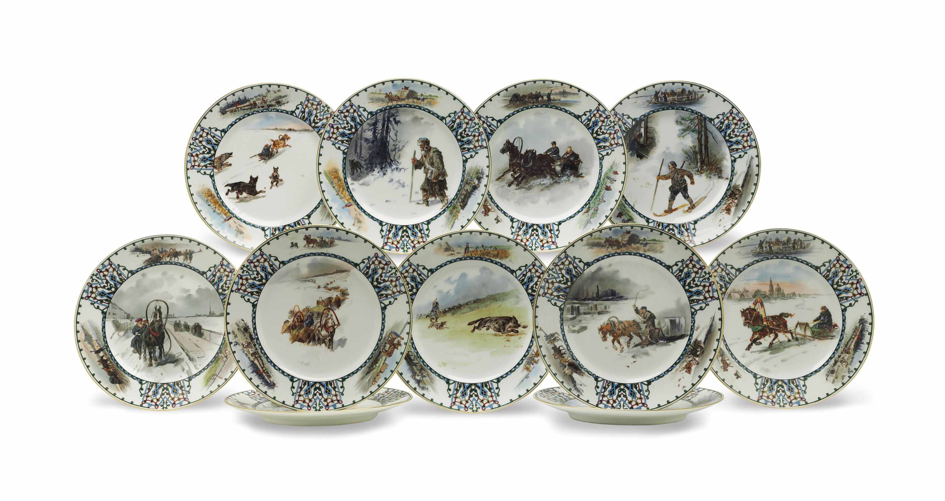 A SET OF ELEVEN PORCELAIN PLATES