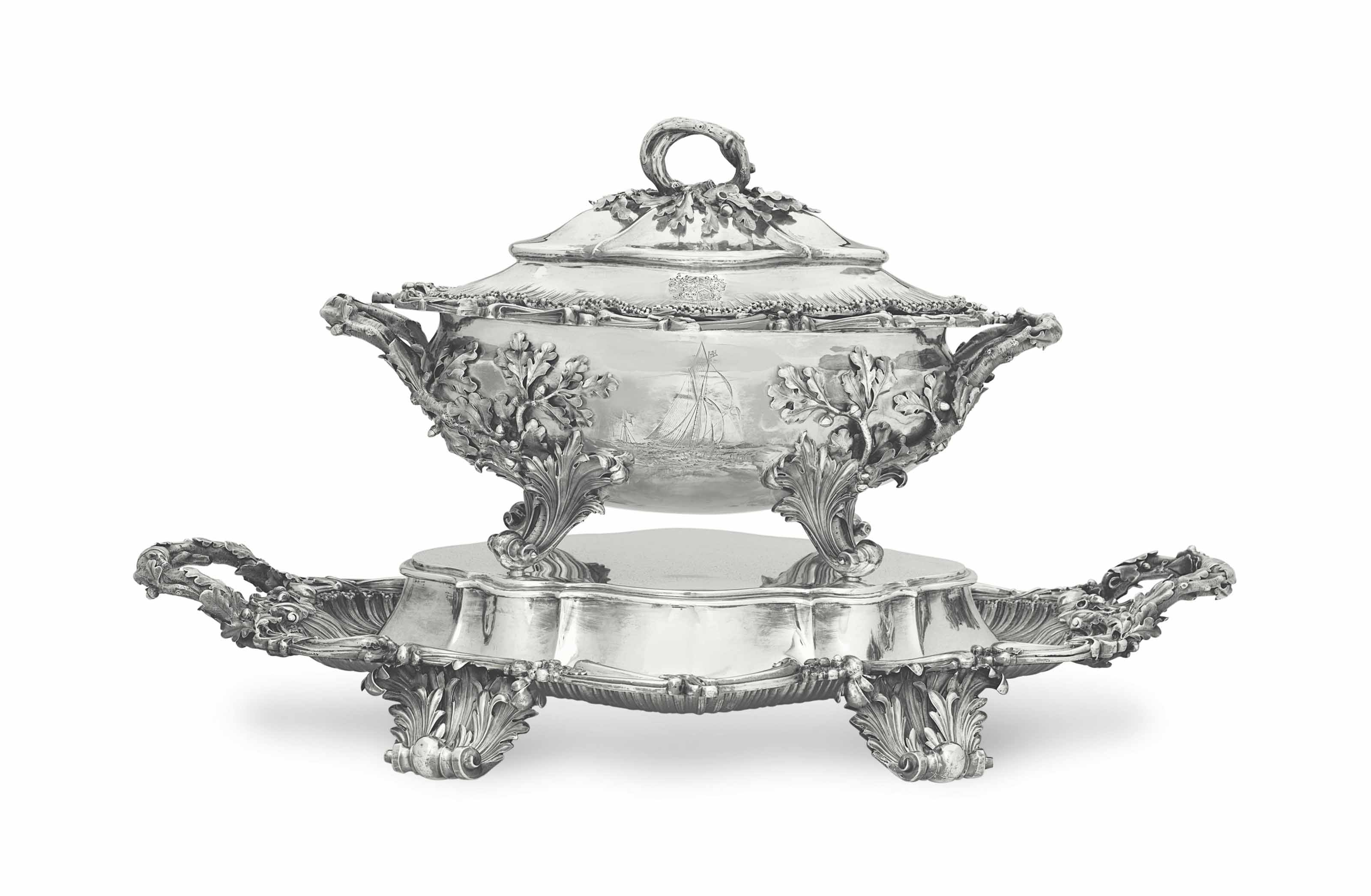 A WILLIAM IV SILVER SOUP TUREE