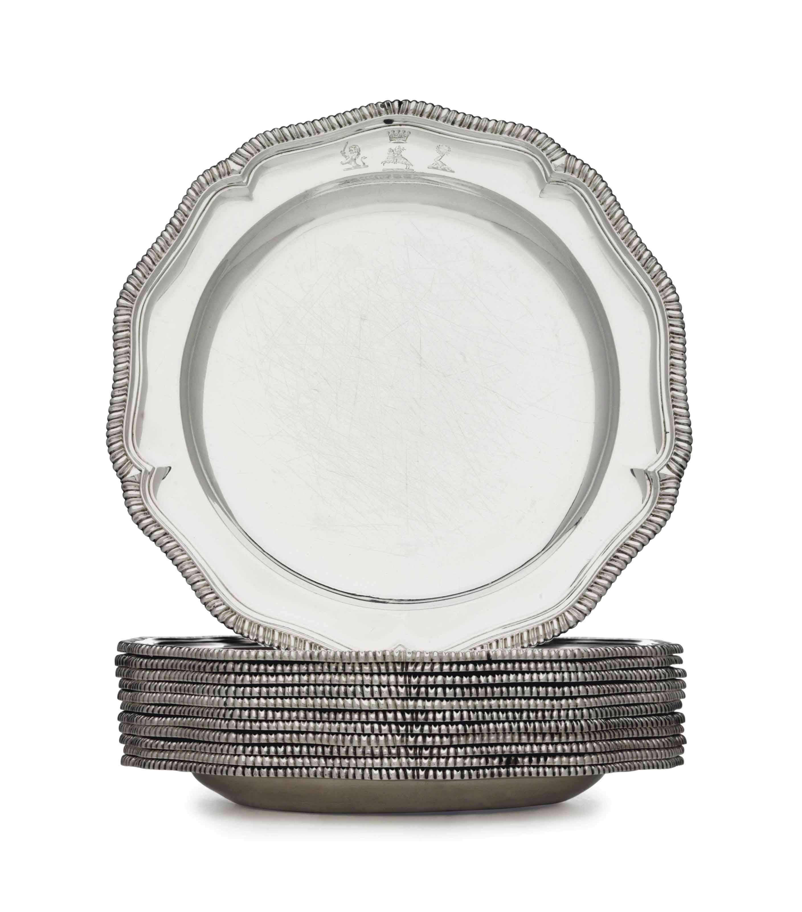 A SET OF TWELVE REGENCY SILVER  sc 1 st  Christieu0027s & A SET OF TWELVE REGENCY SILVER DINNER PLATES | MARK OF SAMUEL ...