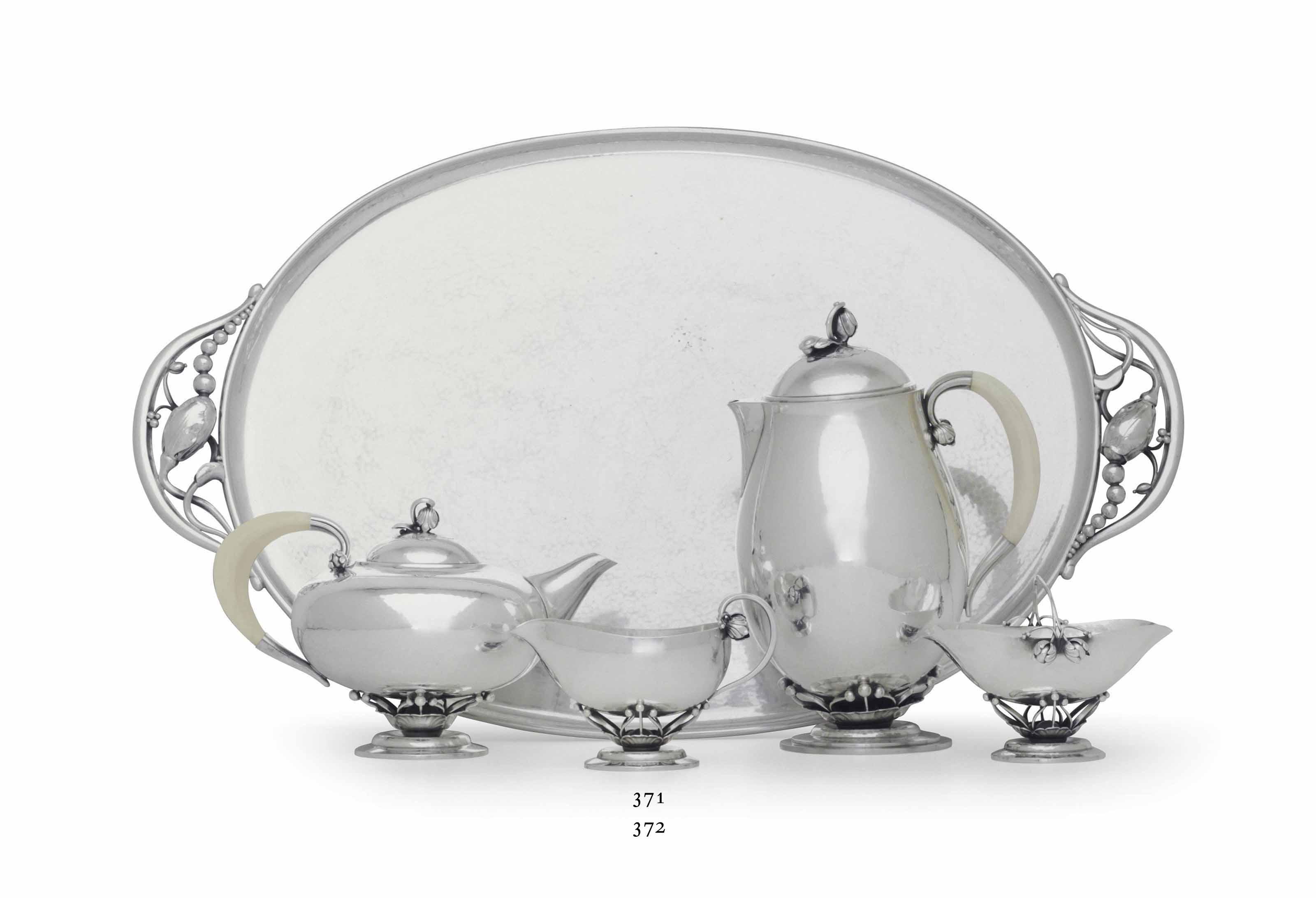 A DANISH SILVER TEA TRAY, DESI