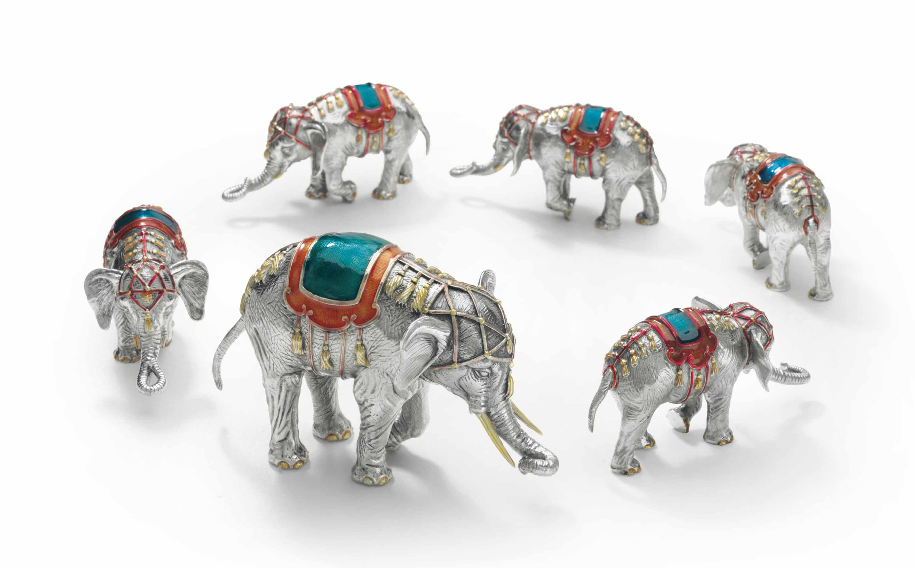 A GROUP OF SIX ENAMELED SILVER