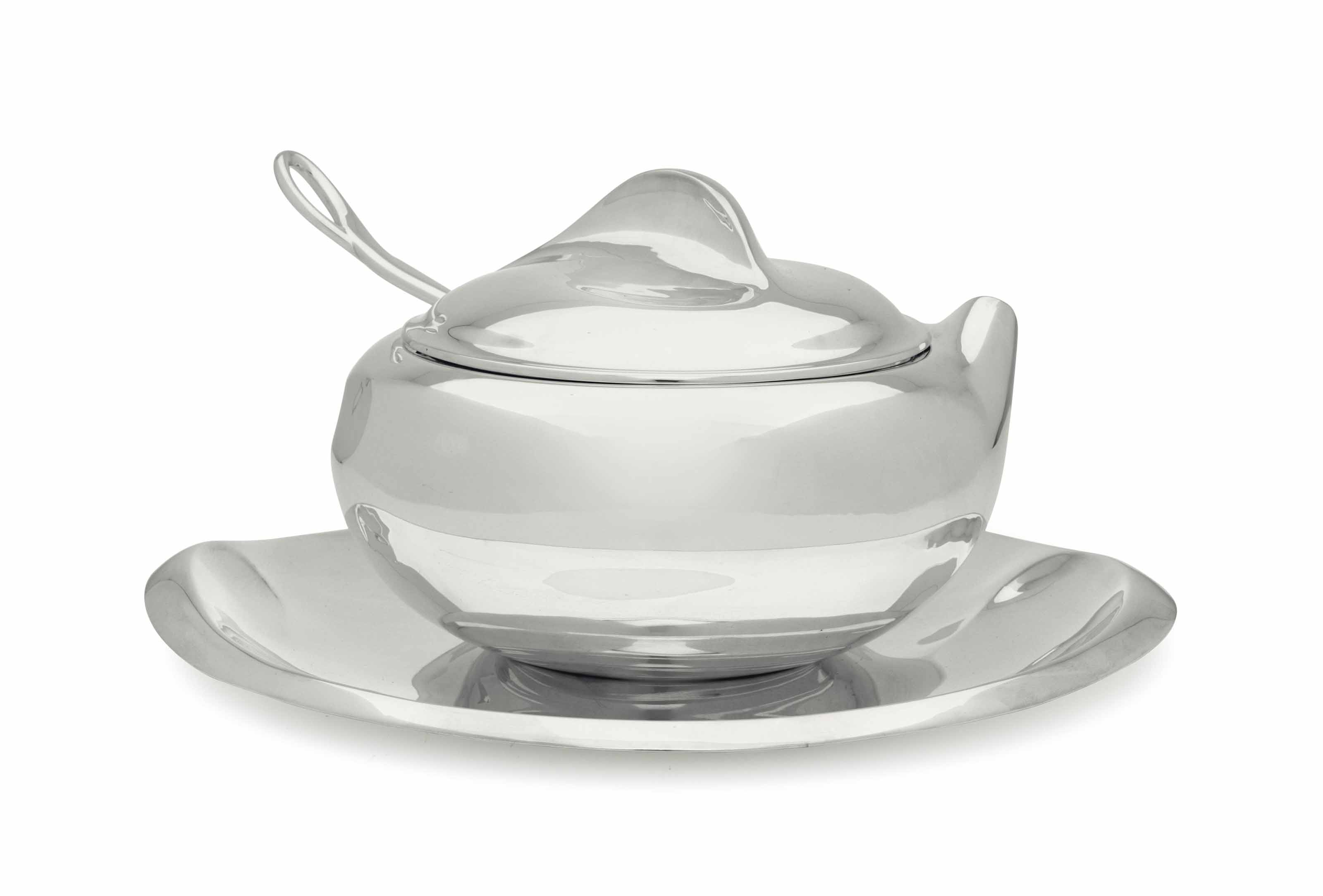 A SILVER SOUP TUREEN AND STAND